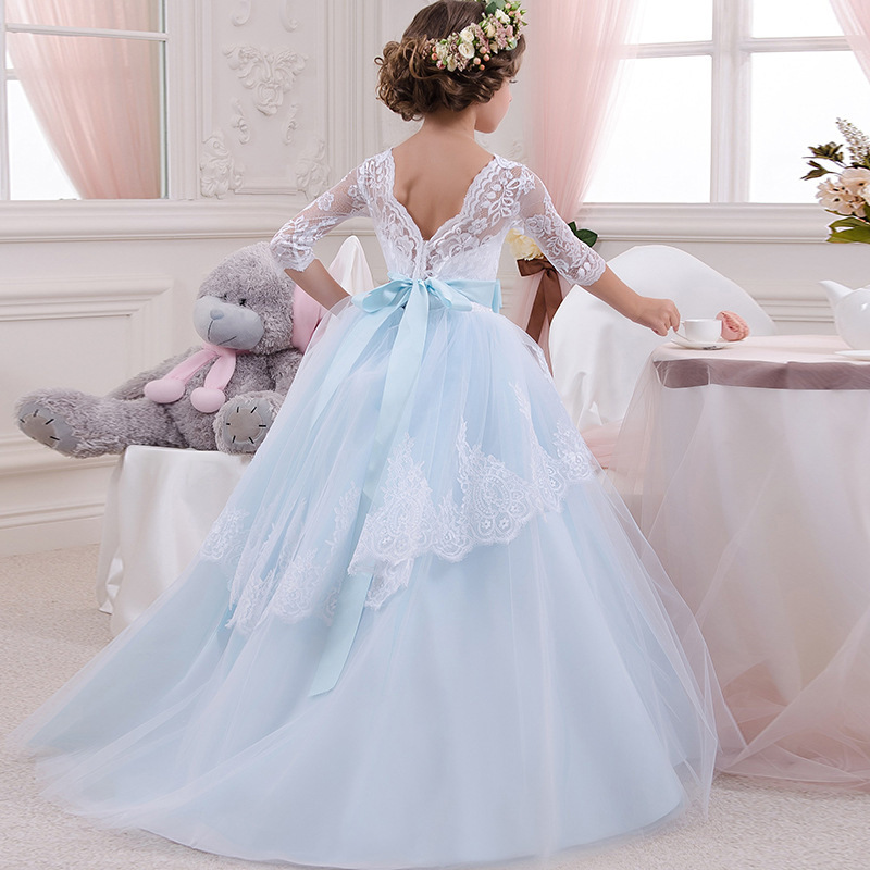 Girl Flower Dress Big Bow Children Party Dress Girl First Communion Dress Princess Ball Gown Pageant Costume Vestido Comunion