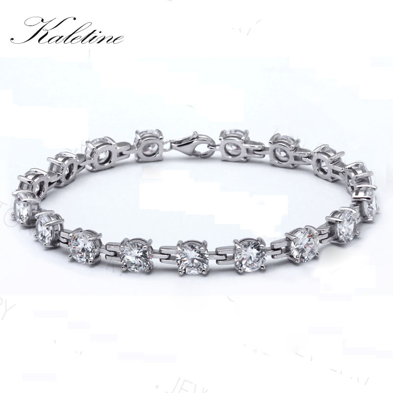 Kaletine Charms 925 Sterling Silver Bracelets For Women Round Cubic Zirconium Bracelets & Bangles Tennis Bracelet 6mm BSQD3055 4 6mm natural garnet wrap bracelet silver red wine charms bracelet round beads bracelets for women