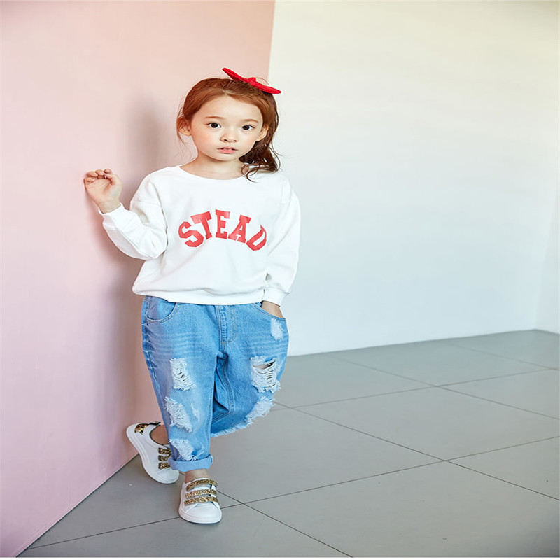 2016 Baby Girl 3-12Y Kids Letter Clothes green Hoodies tops Sweatsuit baby Girl pullover Spring Fall children clothing