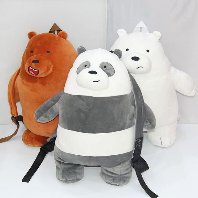 d8ea808dba29 48cm We Bare Bears Plush child backpack doll toys We Bare Bears grizzly  panda ice bear soft stuffed snimal shoulder bag dolls