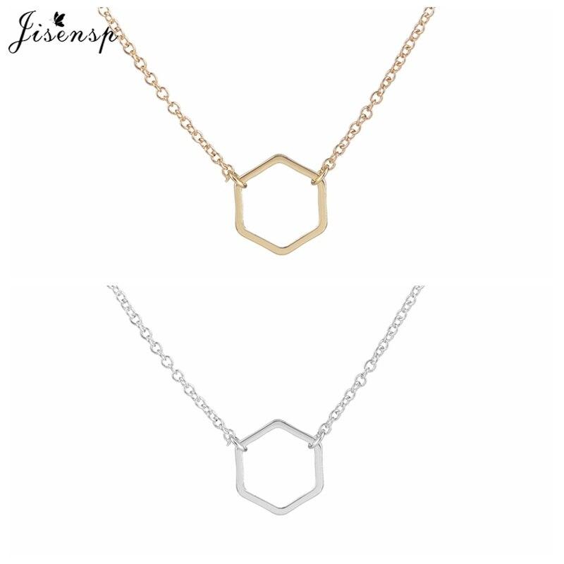 Jisensp New Fashion Geometric Hexagon Necklace for Women nec