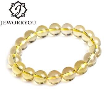 aba781de8128 6-14mm limón cuarzo Brasil citrino cristal pulsera con piedras pulseras  para niñas brazaletes pareja pulsera