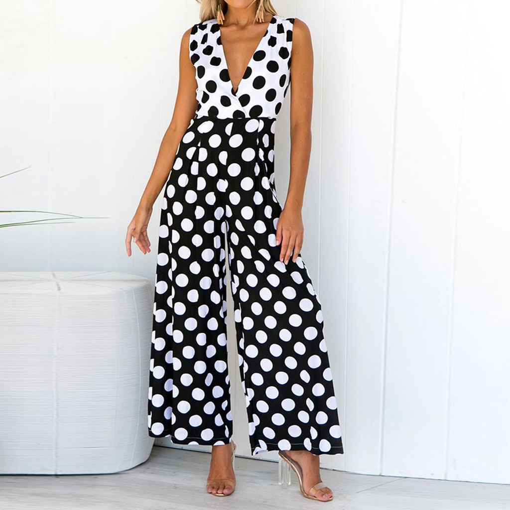 jumpsuits   Vintage polka dot v neck long   jumpsuit   Summer sleeveless overalls Elegant wide leg office ladies   jumpsuits   romper