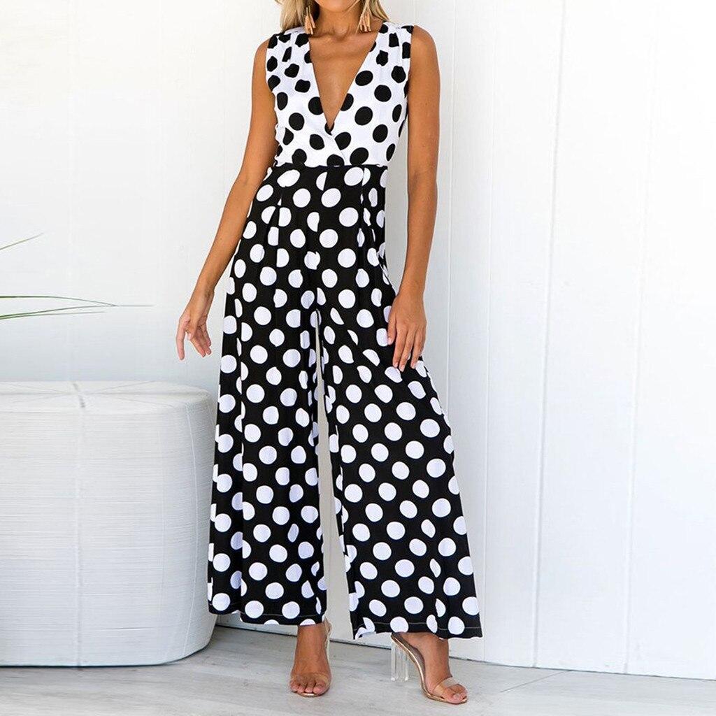 Women V-Neck Casual Short Sleeveless Elastic Waist Dot Bodysuit Women Plays+uit Rompers Womens Jumpsuit Long Trousers Overalls