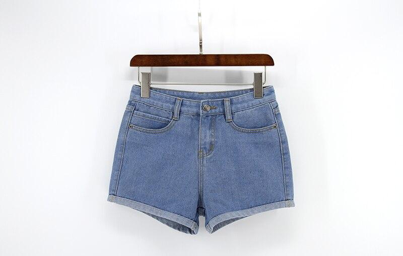 Blue Crimping Denim Jeans Shorts For Women 35
