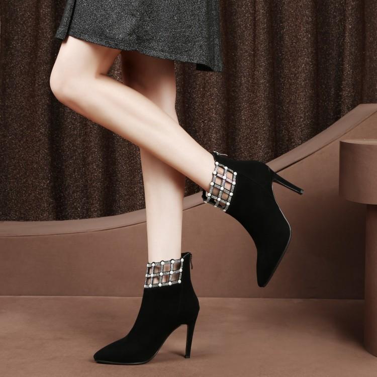 Zapatos Tacón As Hebilla Para as Show Mujer Tobillo Al Flores Botas Alto Lujo De Las Mujeres Show Moda Impresión Calado wqO6fR6