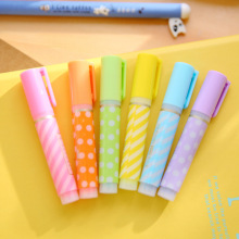6 pcs Mini Fluorescent color highlighter pen Kawaii wave spot drawing liner pens Cute Stationery Office School supplies FB447