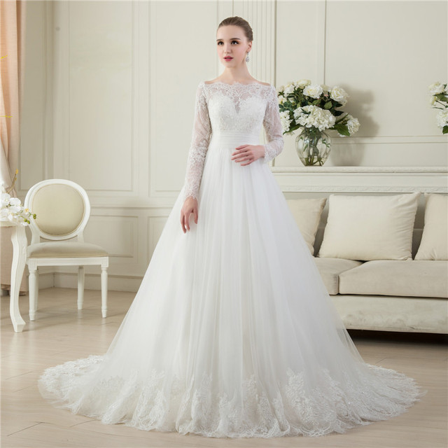 Hot Sale Wedding Dress ZZ001 A line Long Sleeves Plus Size Tulle ...