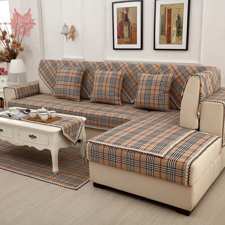British brown plaid sofa cover cotton linen lace decor - Telas para sofa ...