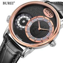 BUREI 2017 Sports Men Watch Fashion Big Dial Genuine Leather Wrist Watch Casual Military Quartz Mens Watches Top Brand Luxury
