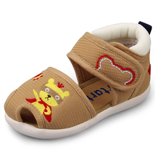 Crtartu Summer Style 1 Pair Khaki Sticky Embroidery Cartoon Bear+Yellow Bear Baby shoes