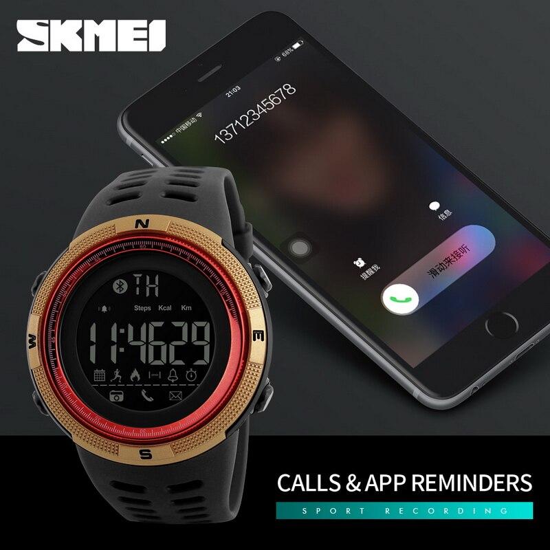 SKMEI 1250 Bluetooth APP Remind Smart Watch Men Pedometer Calories Waterproof Digital Outdoor Sport Clock Men's Wristwatch 2018 цена и фото