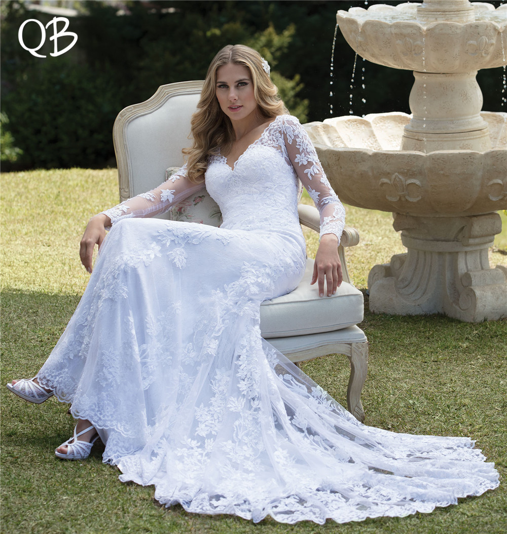 254fff282c01 Long Sleeve Lace Wedding Dress Mermaid