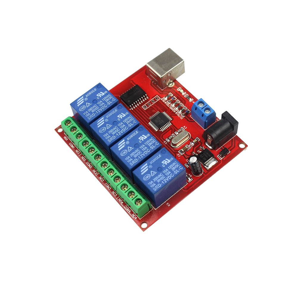все цены на  4 Channel DC 12V Computer USB Control Switch Drive Relay Module PC Intelligent Controller 4-way 12V Relay Module  онлайн