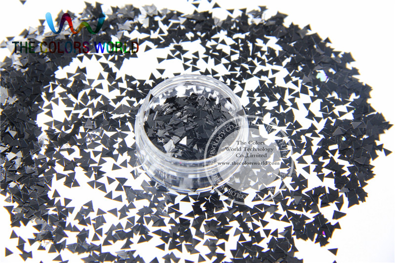 Solvent Resistant  Black  Color Triangle  Shape Glitter  for Nail Polish and DIY decoration 1Pack =50g chainable black and white letter cubes for diy apparels 7mm assorted 50 pack