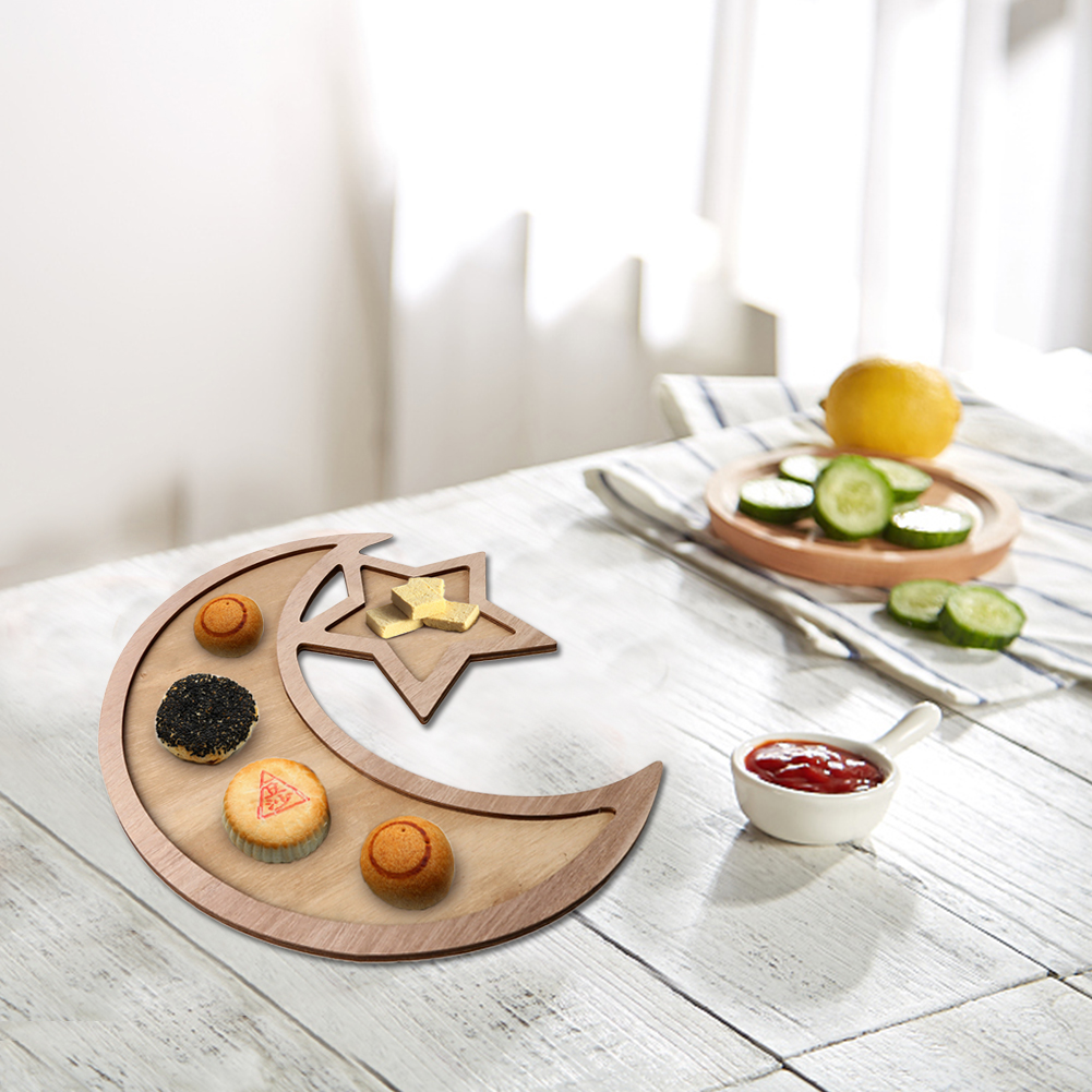 Eid Decoration Wooden Dinner Plate Home Ramadan Food Serving Tray #CW