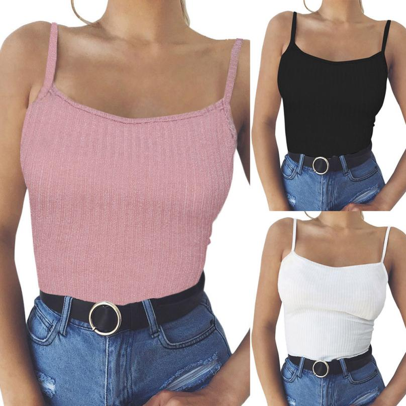 Sexy Women Vest Camisole   Tank     Top   Solid Colors 7 Streetwear for 90s Camisole Sleeveless Bandge Shirt Summer style   Top   Female