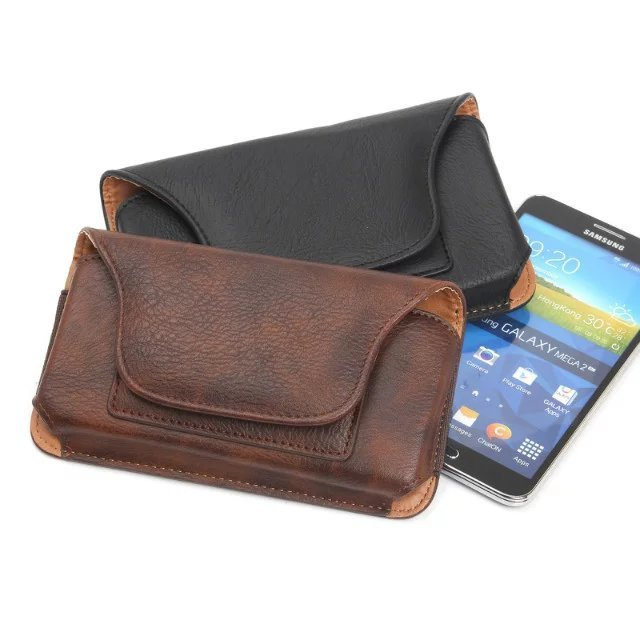 "Vintage Magnetic Horizontal Hook Loop Belt Pouch Bags Leather Case For asus zenfone max zc550kl 2 ze551ml 5.5"" Below Cover"