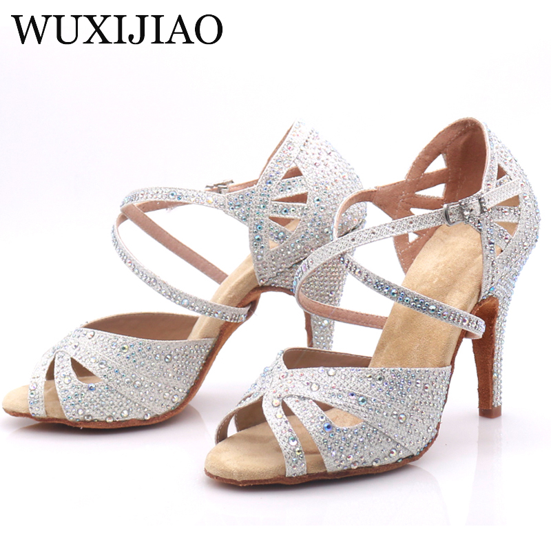 Image 5 - WUXIJIAO hot Black and white flash cloth Women's Latin dance shoes Ballroom dance shoes Party Square dance shoes soft heel 7.5cm-in Dance shoes from Sports & Entertainment