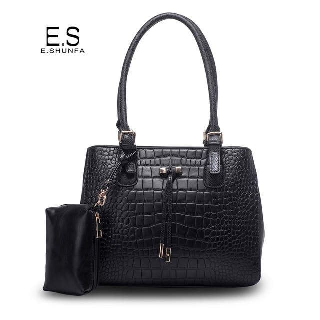 1095ed501a Elegant Ladies Hand Bags 2018 New Fashion PU Leather Handbag Tote Bag  Printed Alligator Saffiano Women Handbags With Small Bag