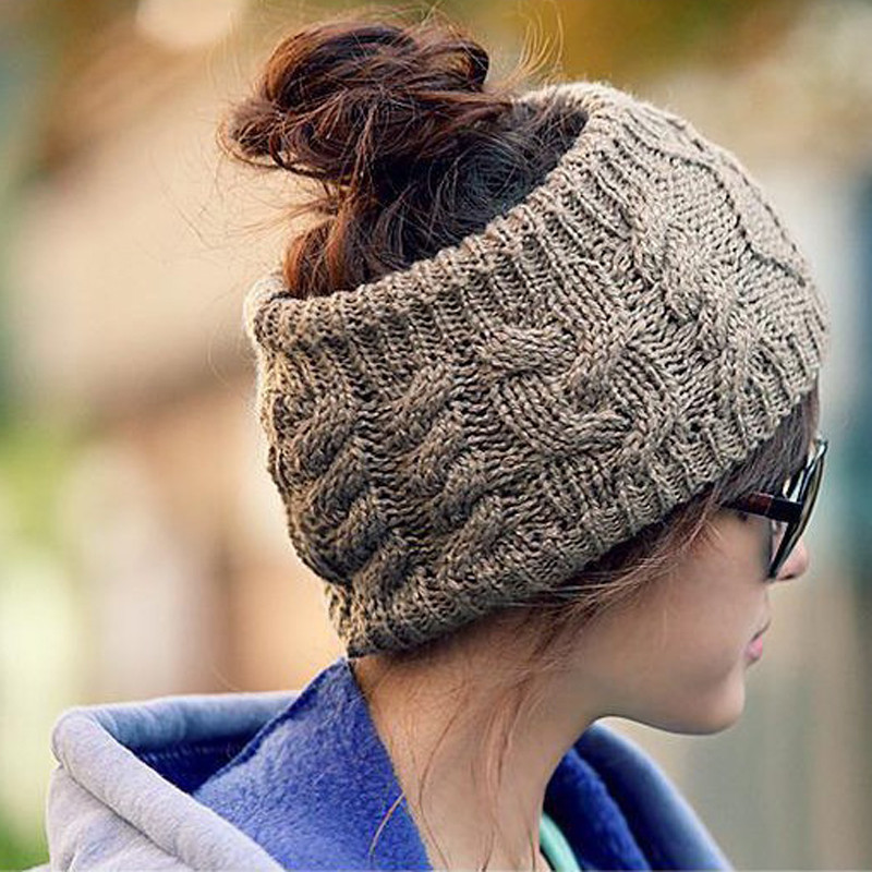 New Fashion Snowboard Warm Knitted Cap Snap Skullies Bonnet Beanie Convenient No Top Wool Winter Hat for Women Multi-purpose Hat knitted skullies cap the new winter all match thickened wool hat knitted cap children cap mz081