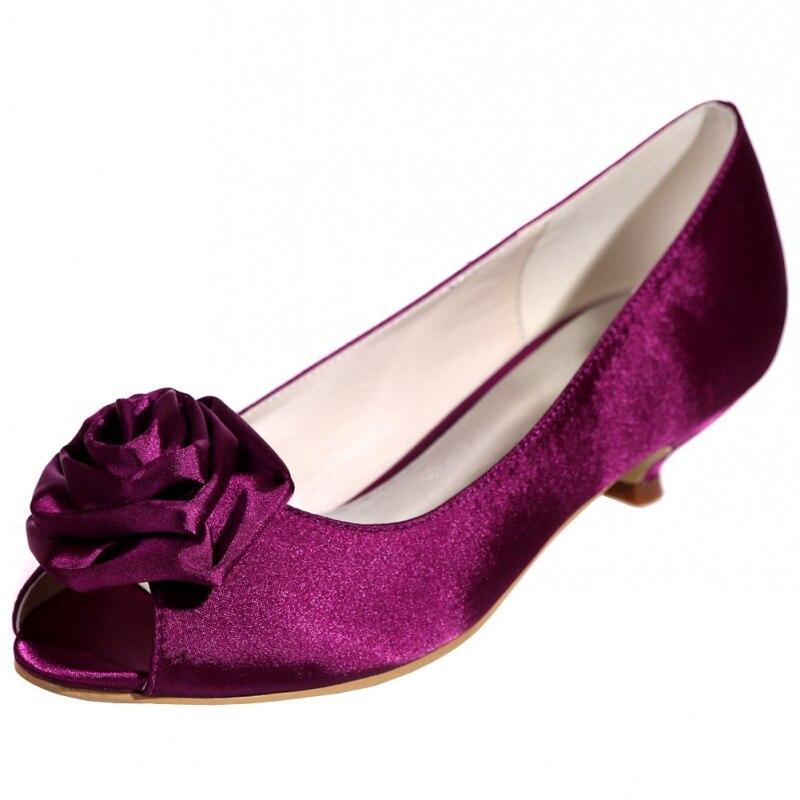 Женские туфли лодочки с объемным цветком, атласные дизайнерские туфли с открытым носком на низком каблуке, большие размеры, белые, черные, красные свадебные туфли на каблуке Zapatos - 4