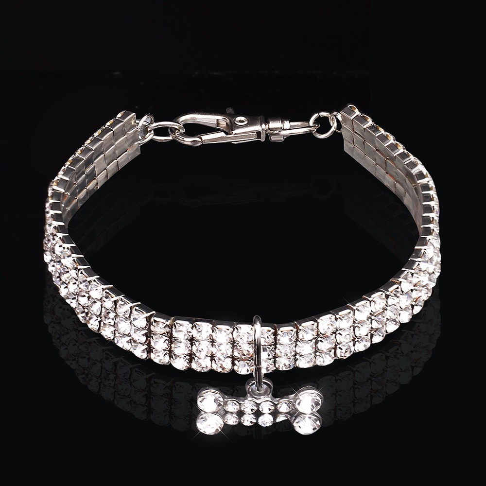 Bling Rhinestone Dog Collar Crystal Puppy Chihuahua Pet Dog Collars Leash For Small Medium Dogs