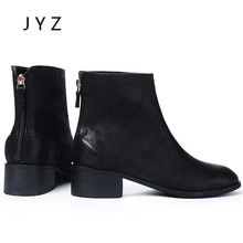 Fashion New Womens Ankle Boots Spring Autumn Shoes Zip Up Black Lady wo180841