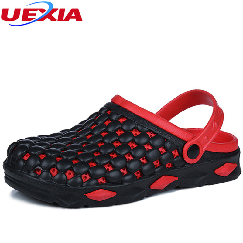 UEXIA New Men Sandals Summer Style Men Beach Shoes Hollow Slippers Hole Breathable Flip Flops Non slip Sandals Men Clogs Outside 2018 summer new arrived fashion men outside beach slippers thick sole comfortable flip flops waterproof non slip home floor shoe