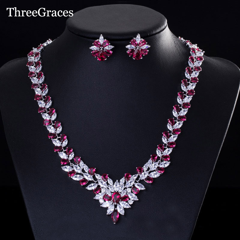 ThreeGraces White Gold Color Marquise Shape Red Zirconia Stones Big Flower Statement Necklace Sets For Women Party Jewelry JS106 chic flower shape embellished bright color felt cloche hat for women