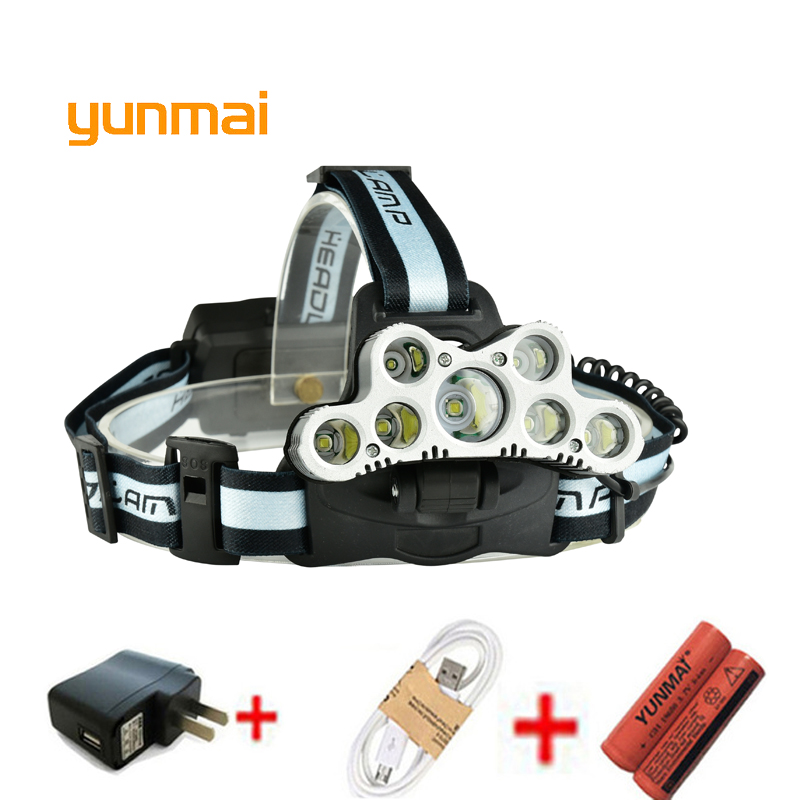 USB 20000 Lumen 7 Led Headlamp 5*NEW xml t6+2Q5 Head Lamp Headlight Torch 18650 Rechargeable Fishing Hunting Light