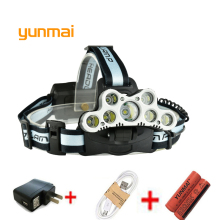 USB 20000 Lumen 7 Led Headlamp 5*NEW xml t6+2Q5 Head Lamp Led Headlight Head Torch 18650 Rechargeable Fishing Hunting Light yunmai 7 led headlamp new xml t6 usb headlight 18650 rechargeable battery flashlight forehead head lamp hunting and fishing q6