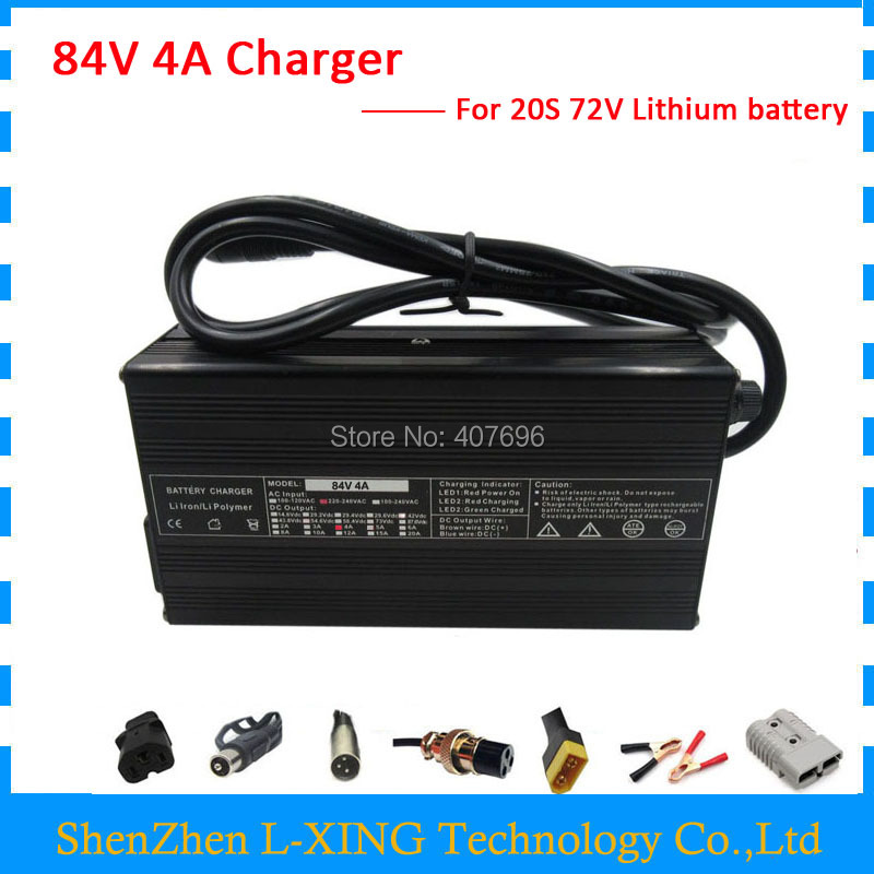 72V Lithium battery Charger Output 84V 4A charger use for 20S 72V ebike battery 84V4A Charger for 20S li-ion battery yangtze li ion charger 84v 5a 4a 3a for 72v car lithium battery chargeur batterie voiture intelligent li ion polymer ebike