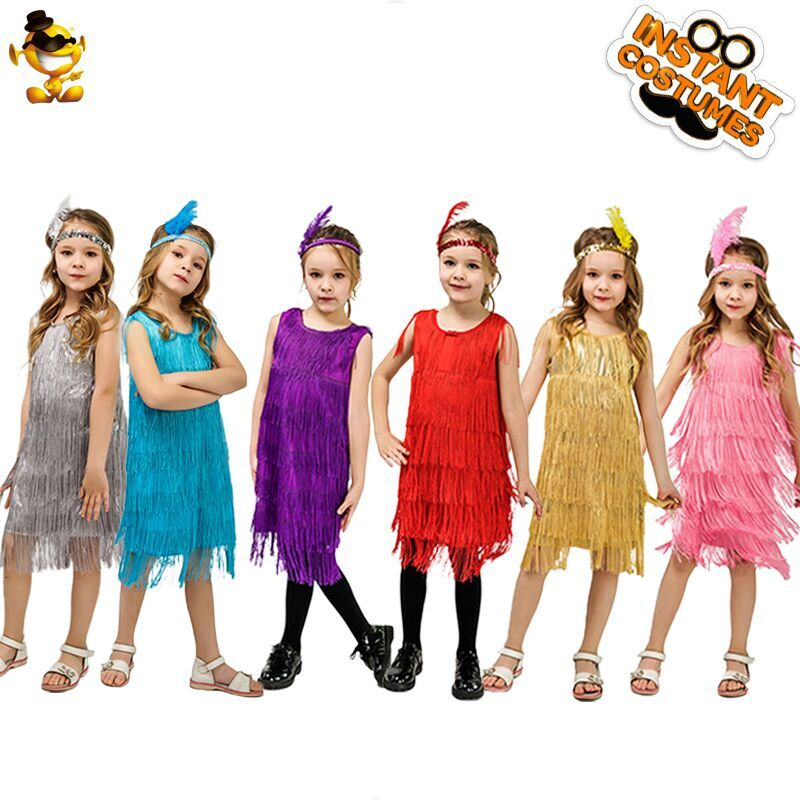 Kids Girl's Fashion Flapper Stain Dress Costume Halloween&Carnival Party Costumes