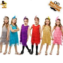 Kids Girls Fashion Flapper Stain Dress Costume Halloween&Carnival Party Costumes