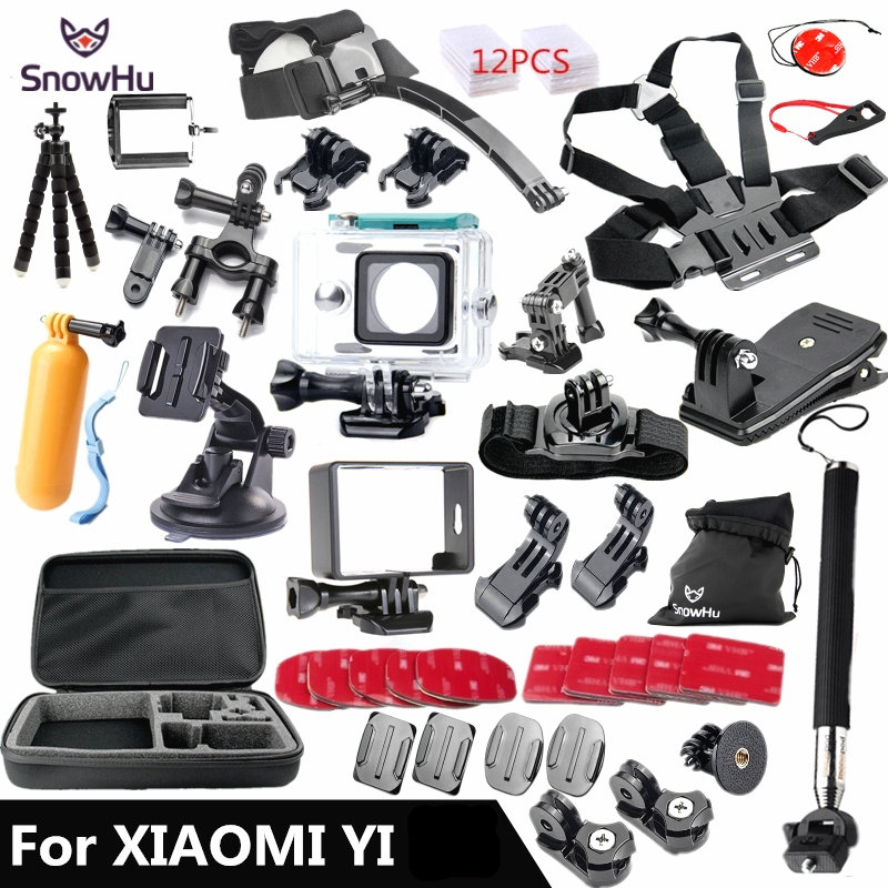 Prix pour Snowhu pour xiaomi yi accessoires ensemble wateraproof cas de protection frontière cadre poitrine ceinture monopode montage pour xiao yi caméra gs56