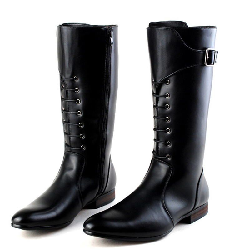 Classic Black Men British Motorbike Riding Boots Military Winter Boots Cowboy Martin Boots