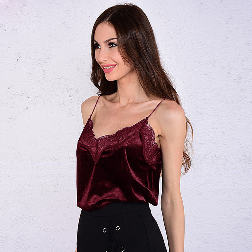 Sexy Velvet Lace Women Tank Tops V Neck Sleeveless Solid Female Camis 2019 Summer Style Fashion Tops Casual Beach Party Clothes in Camis from Women 39 s Clothing
