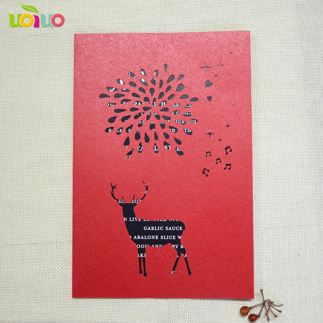Christmas Favor Laser Cut Fancy Lace Greeting Cards 3d Paper Reindeer And Snowflake Hot Sell Invitation