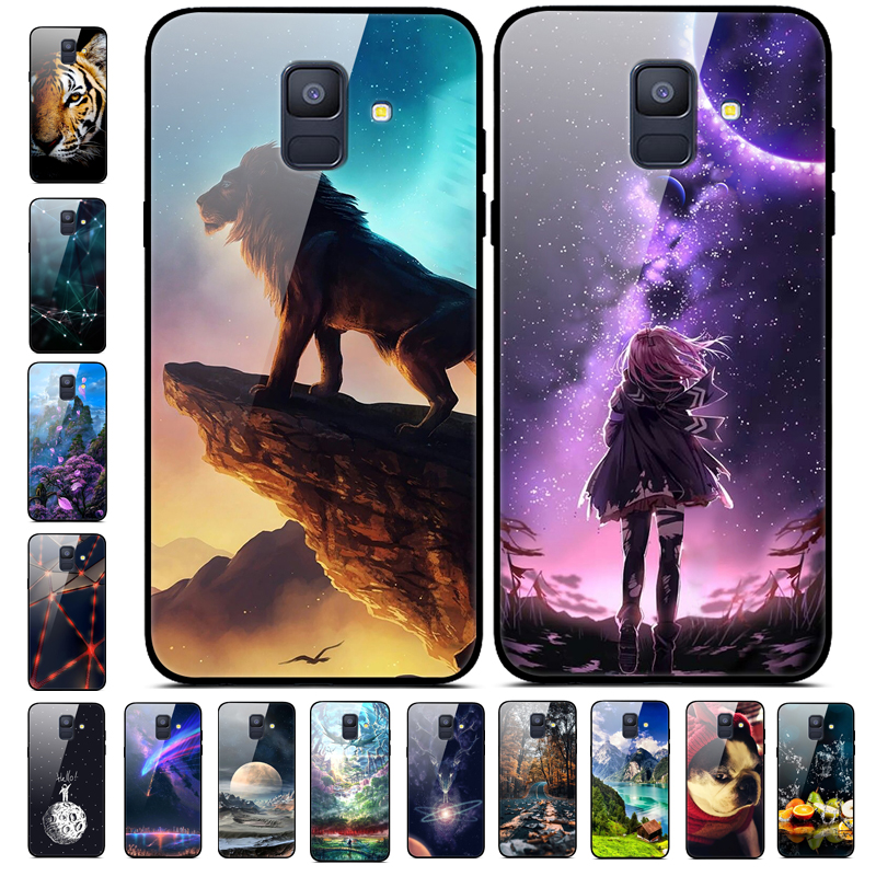 Tempered Glass Case for <font><b>Samsung</b></font> Galaxy A8 A6 Plus 2018 Cases Star Space Phone cases for <font><b>Samsung</b></font> A8 A730F <font><b>A530F</b></font> <font><b>Cover</b></font> Bumper image
