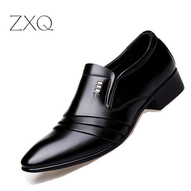Luxury Brand PU Leather Fashion Men Business Dress Loafers Pointy Black Shoes Oxford Breathable Formal Wedding Shoes