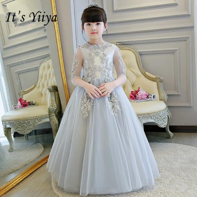 26ac563b9e It's yiiya Fashion Embroidery Flower Girl Dresses High Grade Gray Princess Ball  Gown O-neck