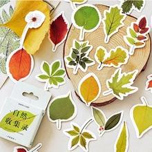 Цветной красивые листья мини декорации бумажные наклейки украшения DIY альбом дневник в стиле Скрапбукинг этикетка наклейка 46 шт./кор