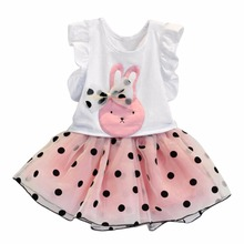 цены Summer Pageant Party Outfits Set Toddler Baby Girls T-shirt Tops +Tutu Skirt 2 Pcs Baby Dress White+Pink Color 2018