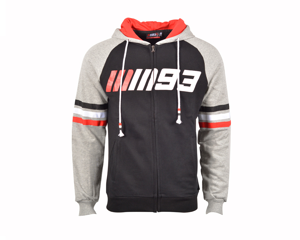 Marc Marquez 93 Moto GP Zip Hoodie MM93 Sports Sweatshirt Crew Fleece Black Gray