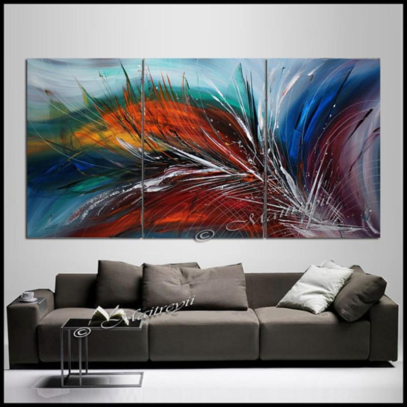 Alta calidad pintado a mano Arte Abstracto Arco Iris plumas paisaje ...