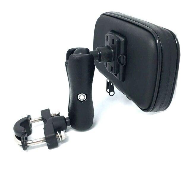 Montaj cep telefon tutucu standı durumda motosiklet bisiklet bisiklet Scooter gidon tutucu su geçirmez fermuar akıllı telefonlar için