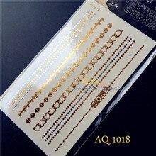 1C Glitter Bracelet Tatoo Women Body Art Chain Gold Silver Henna HAQ1018 Love Heart Dots Jewelry Temporary Tattoo Sticker Anklet