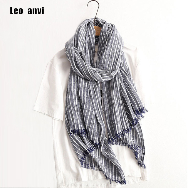 7865491a3a1 US $8.99 10% OFF|2018 Autumn Winter Scarf Women and Men Striped Cotton  Linen Scarfs Vintage Oversized Shawls and Scarves Wrap Bufandas Mujer -in  Men's ...