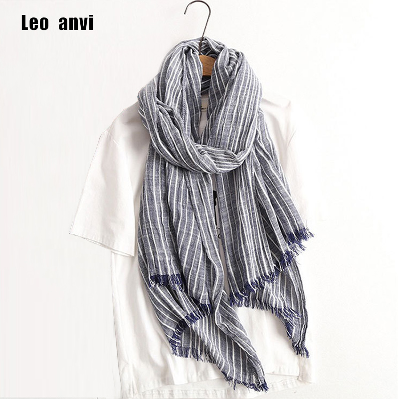 2019 Autumn Winter Scarf Women and Men Striped Cotton Linen Scarfs Vintage Oversized Shawls and Scarves Wrap Bufandas Mujer